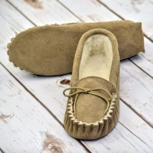 Beige British Made Suede Moccasin Slippers on white floor