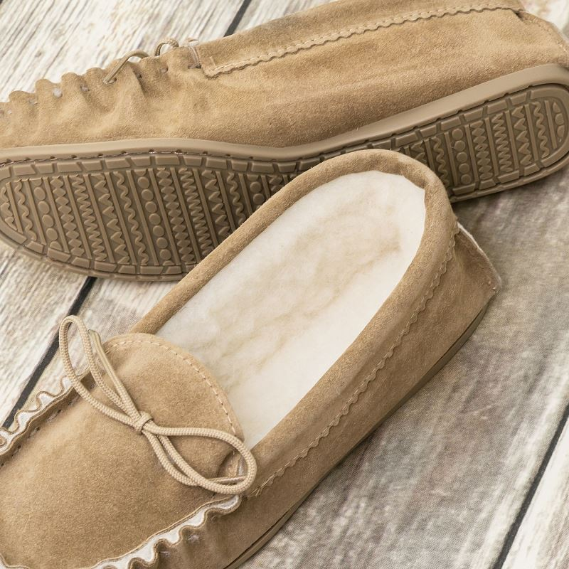 British Made Suede Moccasin Slippers