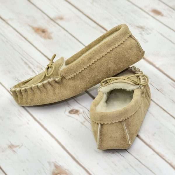 Beige British Made Suede Moccasin Slippers on white wash flooring