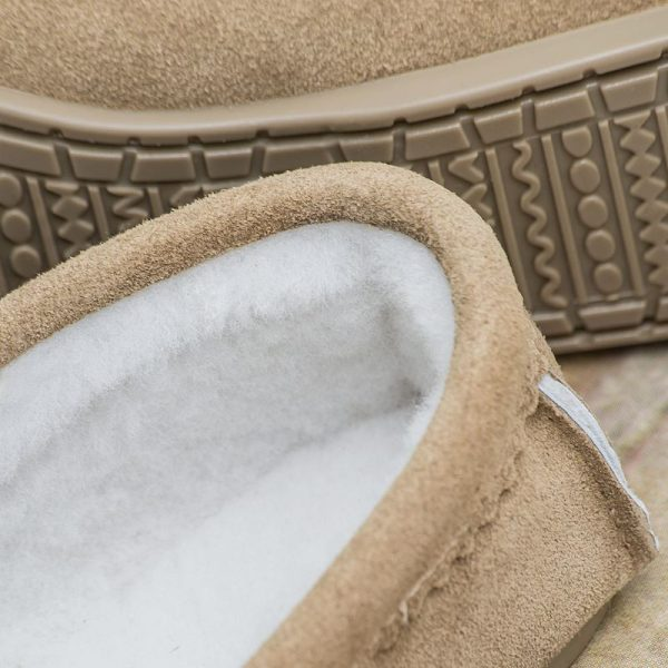 Handmade Sahara Sheepskin Moccasin Slippers, sheepskin detail and stitching