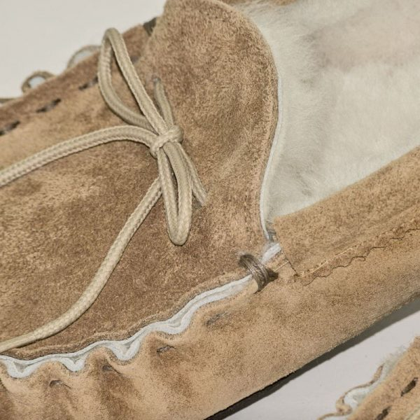 Handmade Sahara Sheepskin Moccasin Slippers lace detail