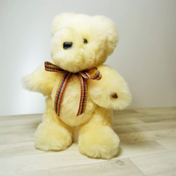 Ivory 'Baby safe' Sheepskin Teddy bear . Made in England