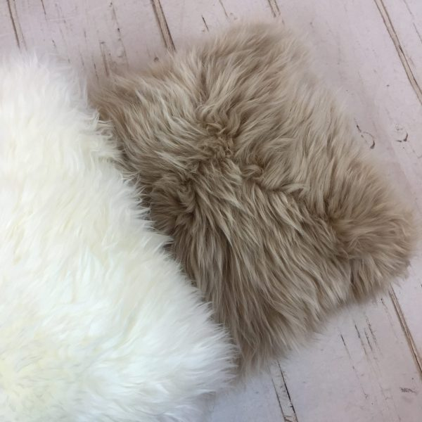 Sheepland Sheepskin Cushion Cover in Ivory and Stone