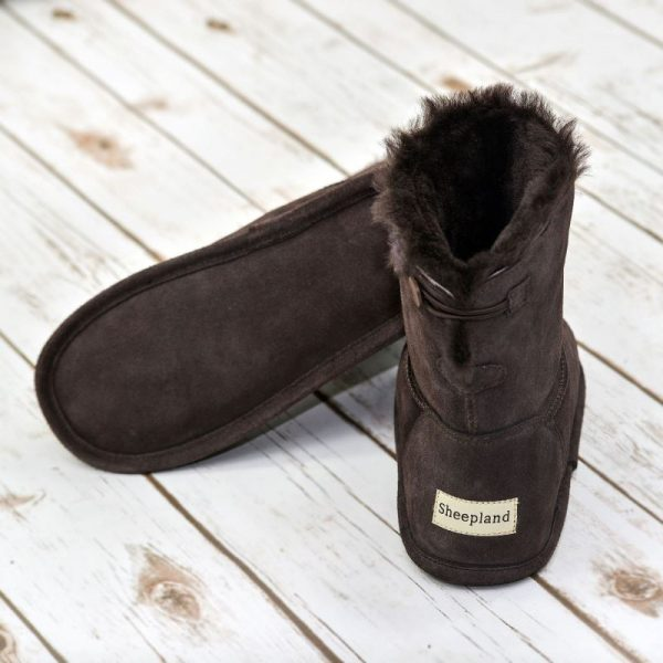 Chocolate Sheepskin Slipper boots on a white background