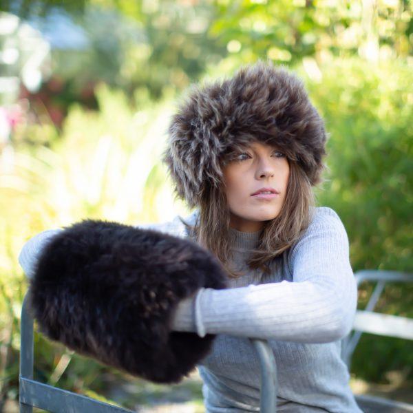Sheepskin Handmuff in the countryside