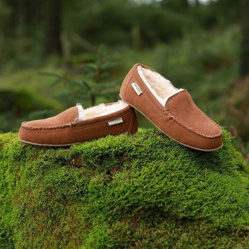 Ashley Unisex Sheepskin Slippers on a green moss background