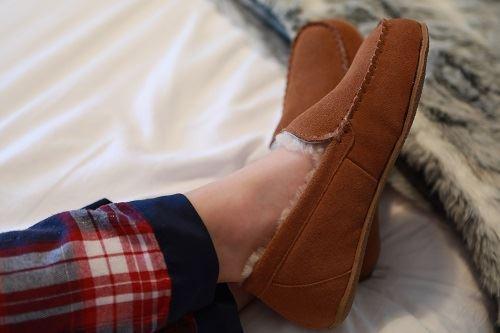 Ashley Unisex Sheepskin Slippers worn with stripe pyjamas