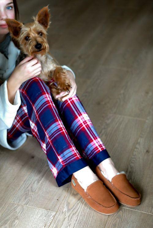 Ashley Unisex Sheepskin Slippers worn with pyjama