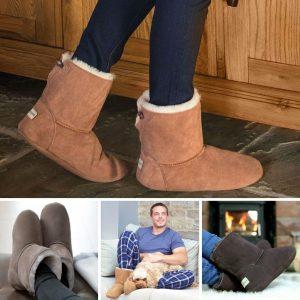 Sheepland Luxury Sheepskin Indoor Slipper Boots in Tan, Grey or Dark Brown