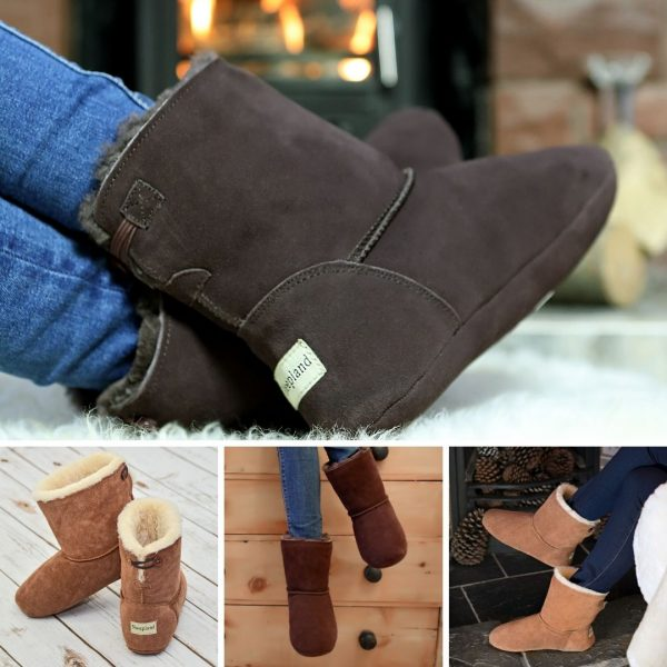 Sheepland Luxury Sheepskin Indoor Slipper Boots in Tan, Grey or Dark Brown.
