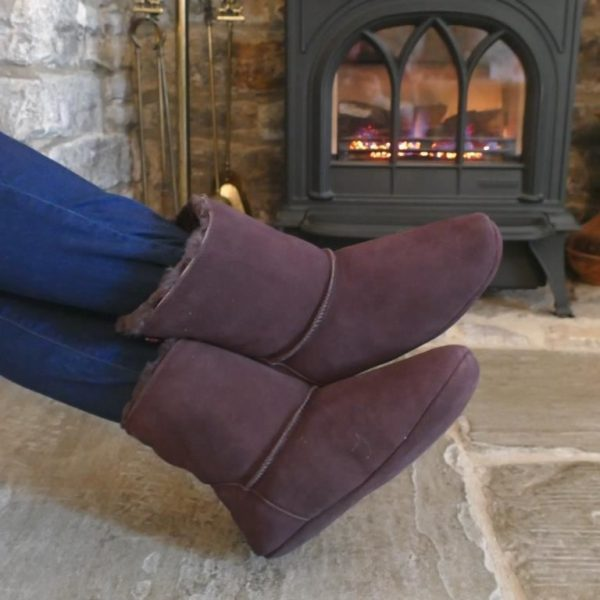 Dark Brown Luxury Sheepskin Slipper Boot by lit fire