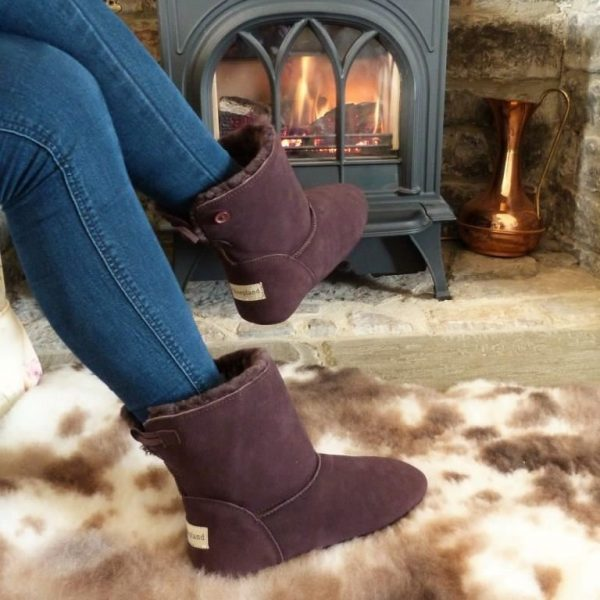 Dark Brown Luxury Sheepskin Slipper Boot on sheepskin by fireplace
