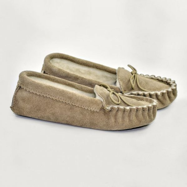 Beige British Made Suede Moccasin Slippers on plain white background