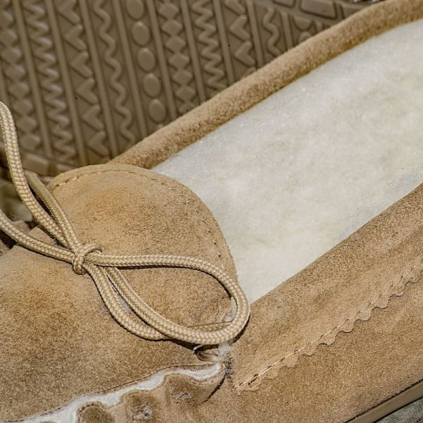 Beige British Made Suede Moccasin Slippers lace detail