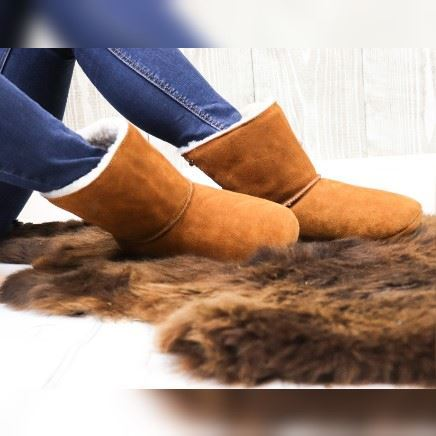 Luxury Sheepland Sheepskin Indoor Slipper Boots In Tan