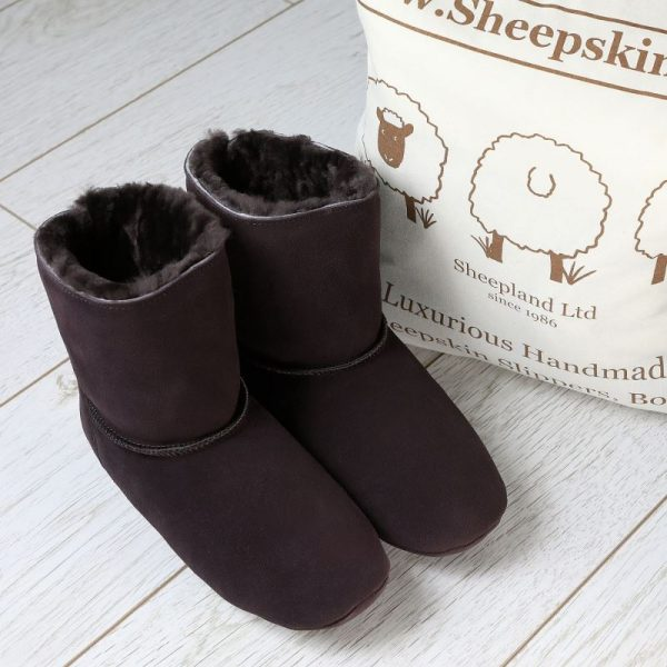 Dark Brown Luxury Sheepskin Slipper Boot by bag
