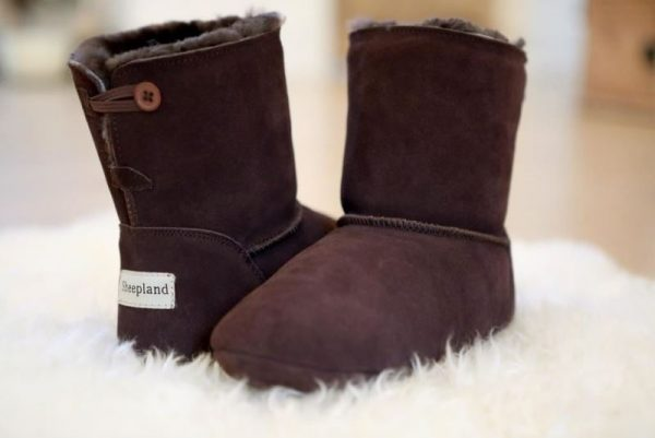 Dark Brown Luxury Sheepskin Slipper Boot on sheepskin