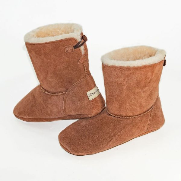 Luxury Sheepland Sheepskin Indoor Slipper Boots In Tan