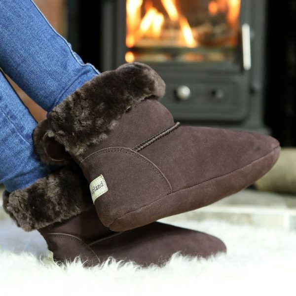Dark Brown Luxury Sheepskin Slipper Boot in front of fire