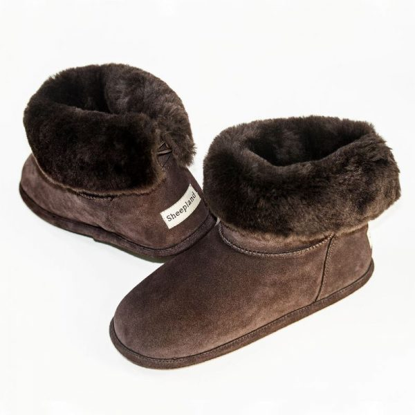 Chocolate sheepskin slipper boots, slipper pose with collar folded down, showing detail