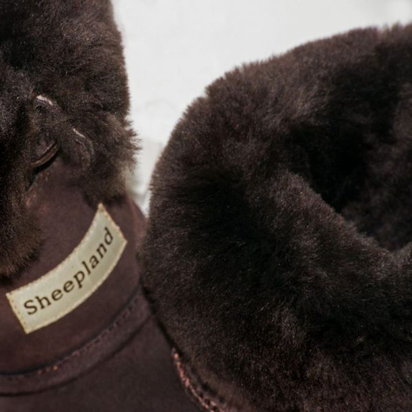 Chocolate sheepskin slipper boots, sheepskin collar and label detail