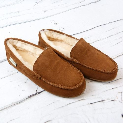 Tan Ashley slippers, on a white background