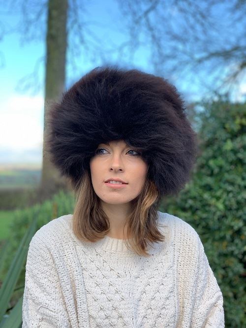 Sheepskin Handmade Ladies Organic Rare Breed Sheepskin Cossack Hat In Organic Chocolate