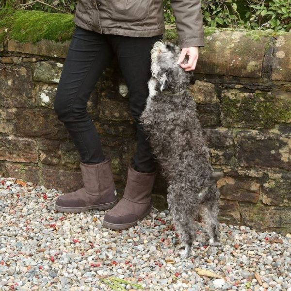 Brown slim fit outdoor sheepskin boots, male model petting dog in front of stone wall