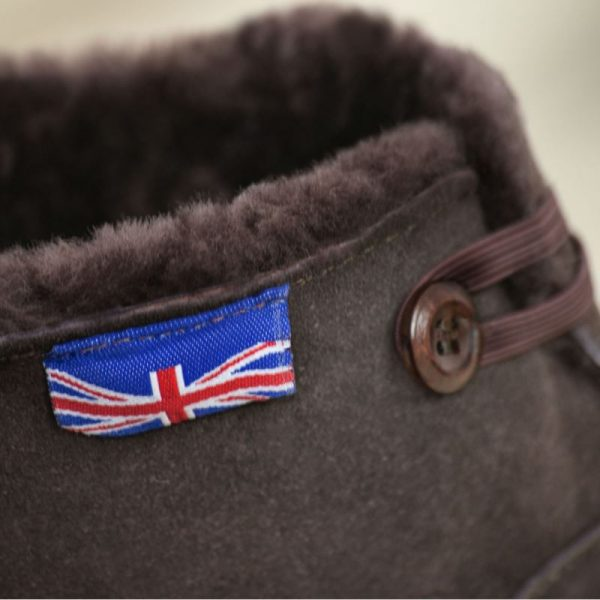 British made mocha house boots showing British flag, handmade