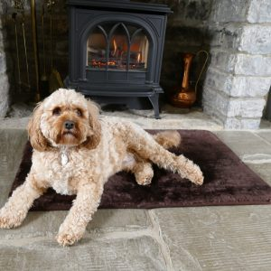 Sheepland Sheepskin Chocolate Pet Bed with dog lying on it, fire place and flagstones