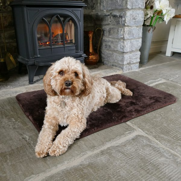Sheepland Sheepskin Chocolate Pet Bed with dog lying on it