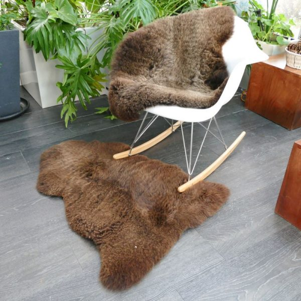 Short Fur Undyed Sheepskin Throw/Rug on white rocking chair