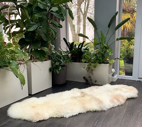 Sheepland organic double rug N5 in front of plants