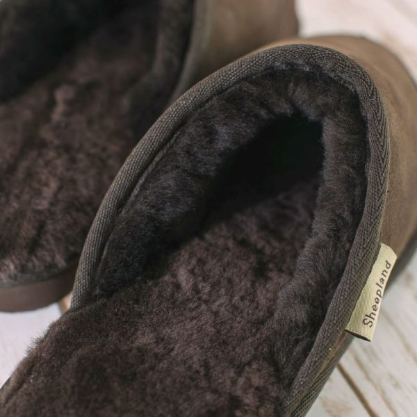 Luxury chocolate sheepskin mule, close up of fur