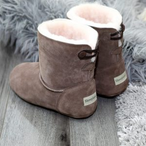 Grey Sheepskin Slipper Boot by Sheepland