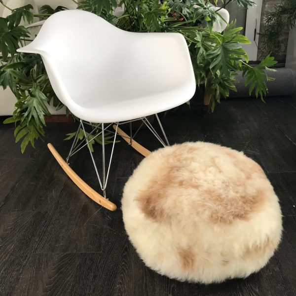 Organic British Sheepskin Pouffe Ivory with Speckles