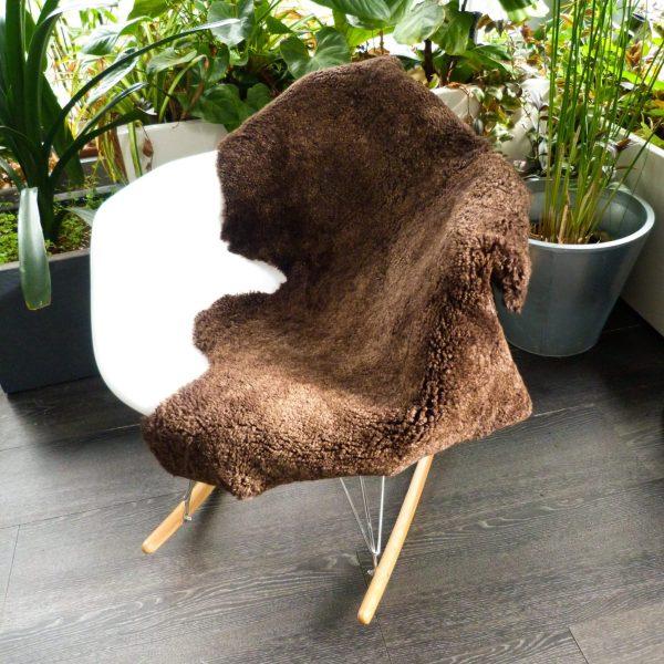 Brown Sheepskin Shearling on chair