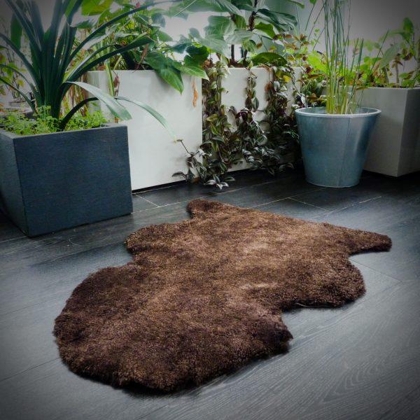 Brown Sheepskin Shearling Rug on Grey Floor