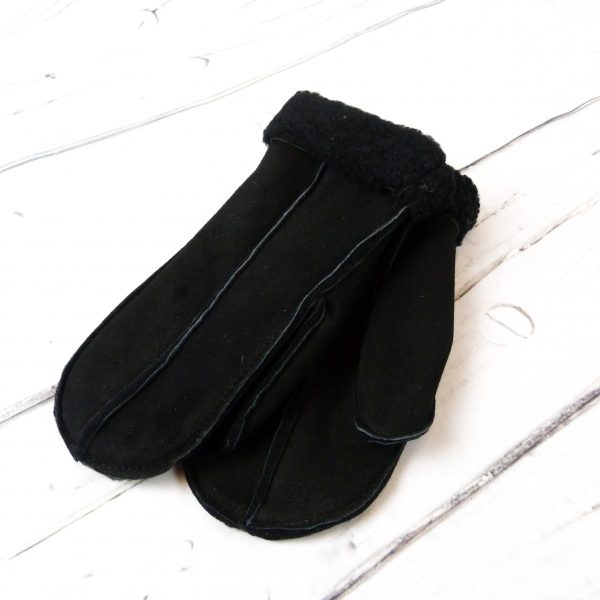 Black sheepskin mitten showing front detail