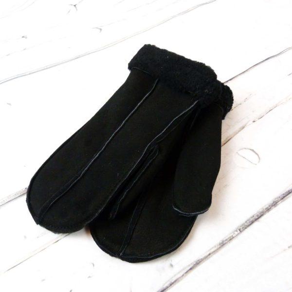 Black sheepskin mitten showing front detail