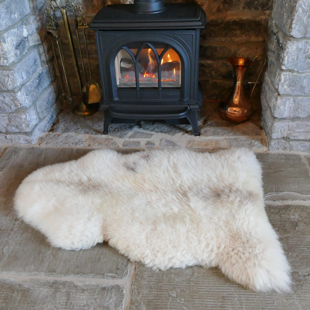 100 British Undyed Rare Breed Sheepskin Rugs Pale Tones