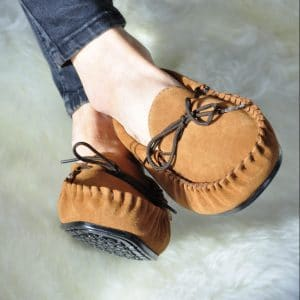 Handcrafted British Chestnut Suede Moccasins With Fabric Inner