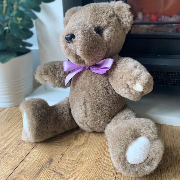 Handmade Sheepskin Teddy Bear - made from real sheepskin in Somerset