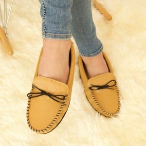 Handcrafted British Leather Moccasins with Fabric inner in Mustard/Light Tan