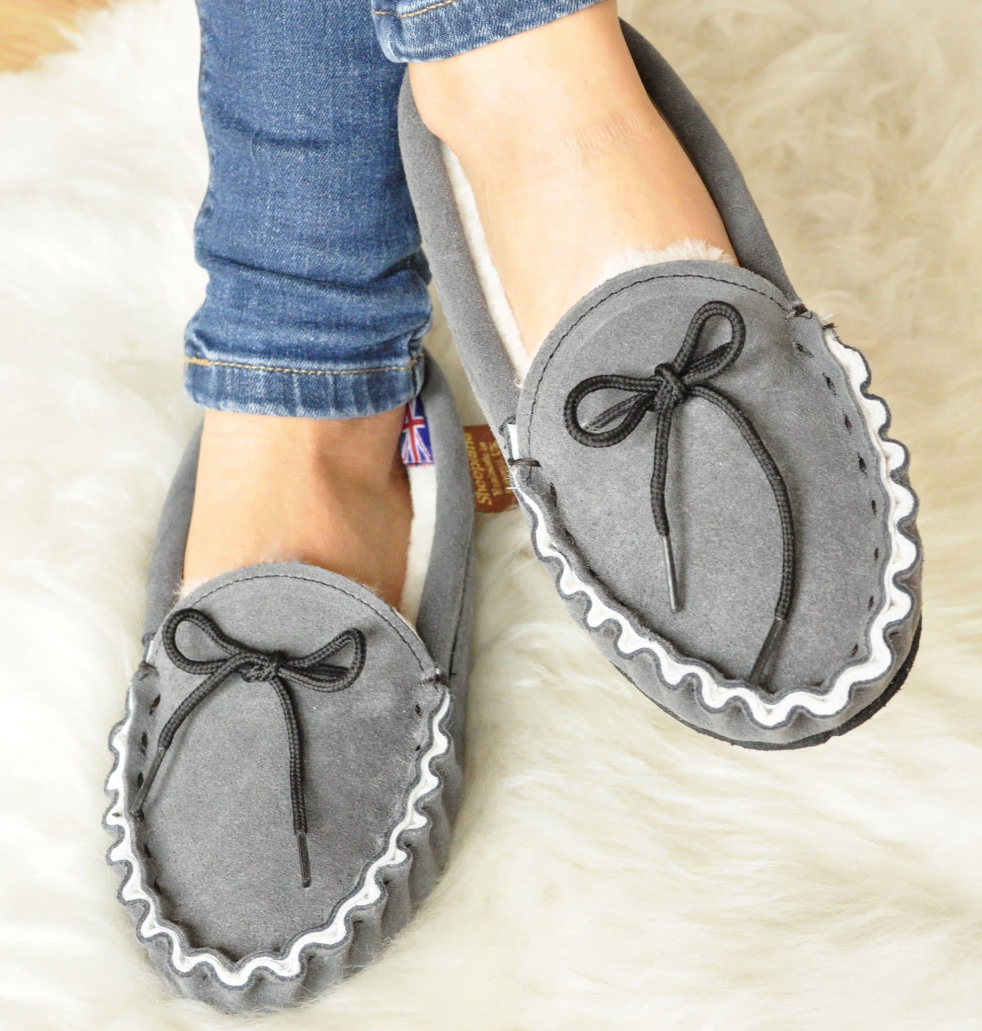Somerset Handmade British Sheepskin Moccasin Slippers In Grey